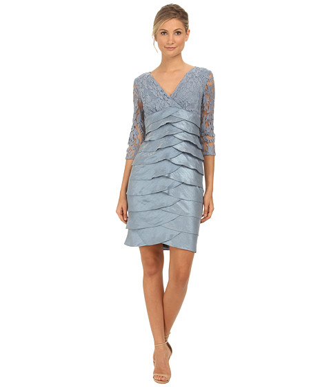 Adrianna Papell - Shimmer Shutter Tuck Lace Dress (Dusty Blue) Women