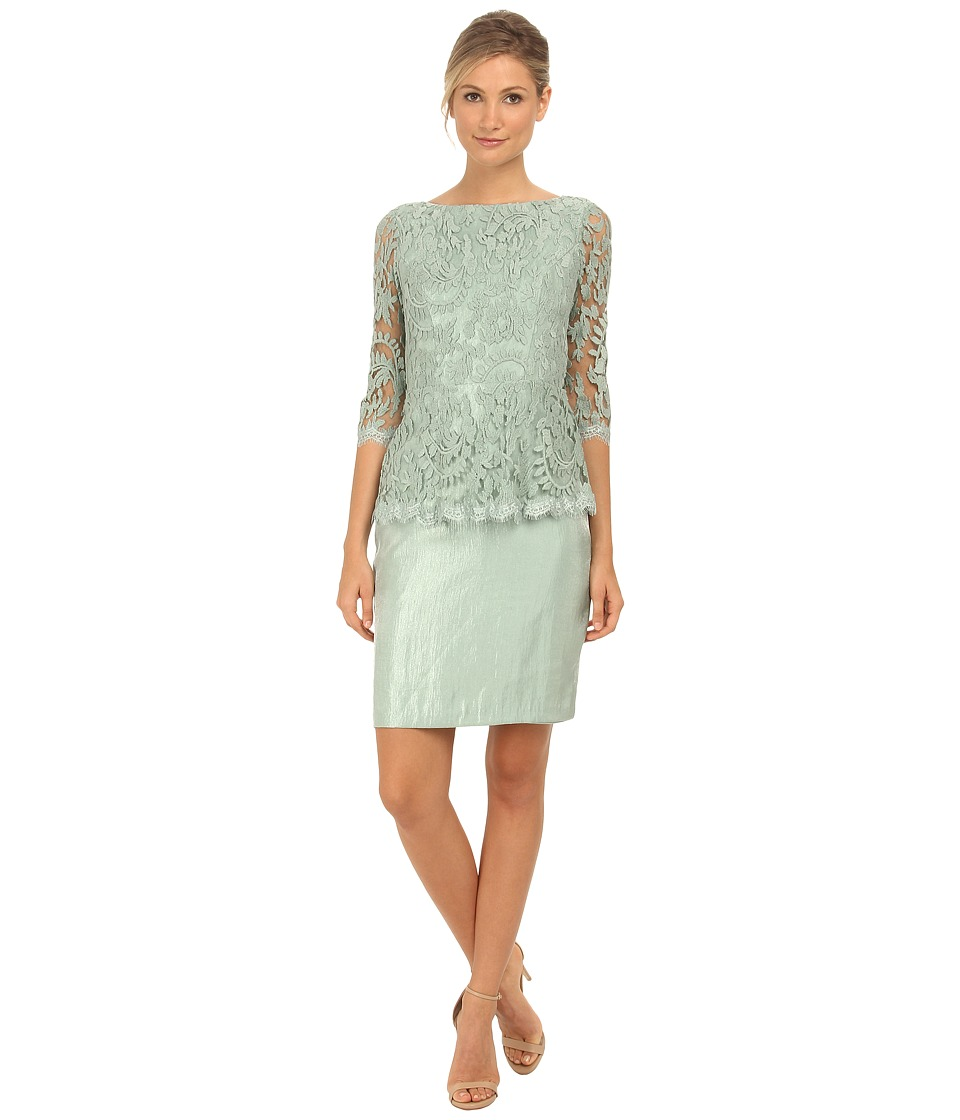 Adrianna Papell - Floral Embroidery Peplum Dress (Celadon) Women's Dress