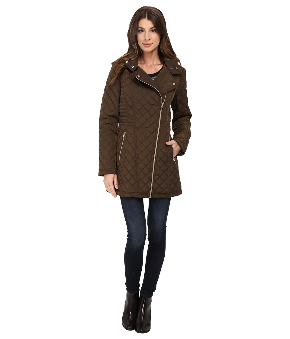 Jessica Simpson - Asymmetrical Zip Quilt with Hood (Olive) Women's Clothing