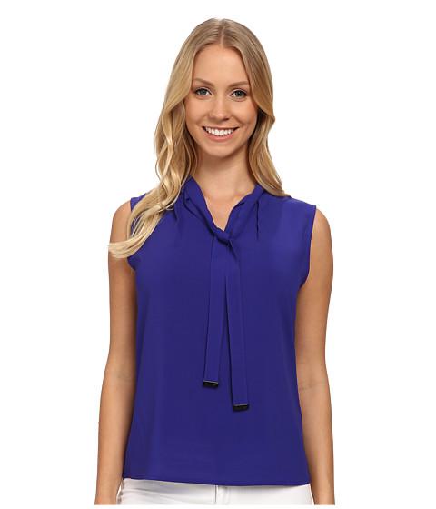Calvin Klein - Solid Tie Neck Blouse w/ CK Hardware (Byzantine) Women