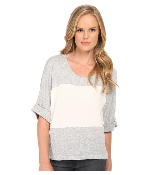 Splendid - Color Blocked Drapey Lux Pullover (Heather Grey/Bone/Heather Grey) Women's Short Sleeve Pullover