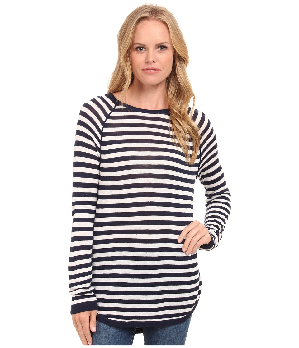 Splendid - Easel Contrast Stripe Pullover (Navy/Heather White) Women's Long Sleeve Pullover
