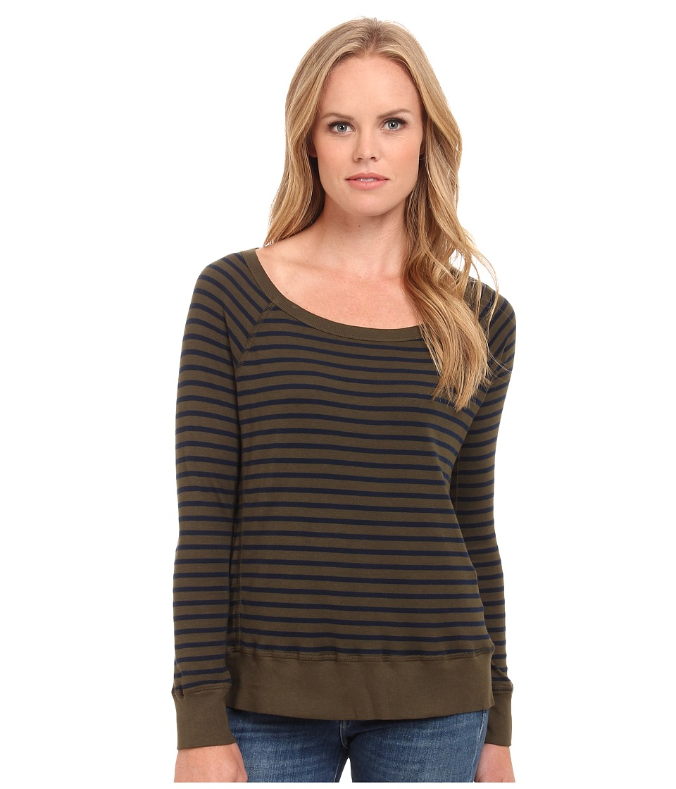 Splendid - 1x1 Venice Stripe Long Sleeve Pullover (Olive) Women's Sweatshirt