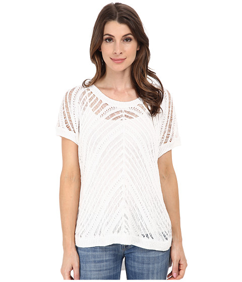 DKNY Jeans - Boxy Mix Stitch Pullover (White) Women's Short Sleeve Pullover