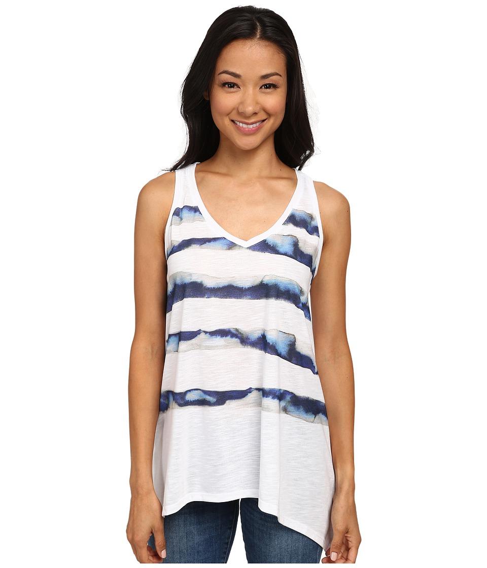 DKNY Jeans - Seascape Stripe Tank Top (White) Women's Sleeveless