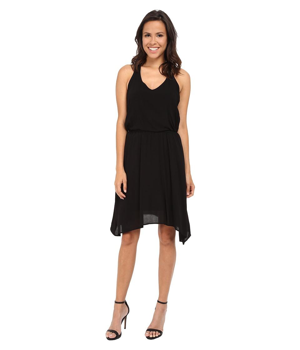 Splendid V-Neck Hanky Hem Dress (Black) Women