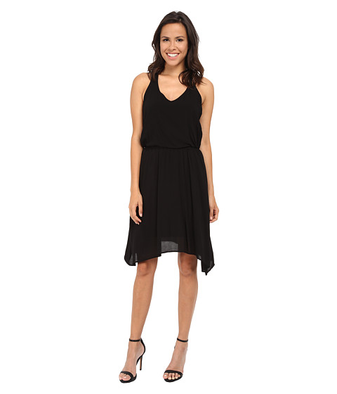 Splendid - V-Neck Hanky Hem Dress (Black) Women