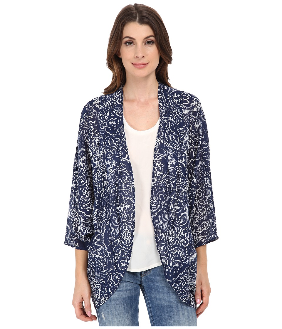 DKNY Jeans - Bandana Batik Print Kimono (Mood Indigo) Women's Blouse