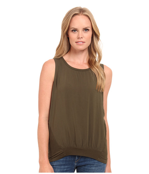 Splendid - Mixed Media Tank Top (Olive) Women's Sleeveless
