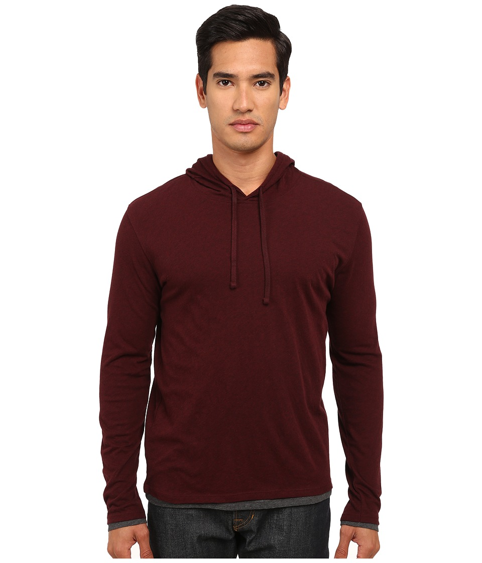 Vince - Double Layer Hoodie (Heather Cordovan/Heather Carbon) Men's Sweatshirt