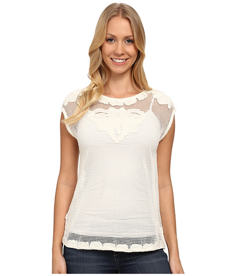 DKNY Jeans - Embroidered Mesh Top (Polar Cream) Women