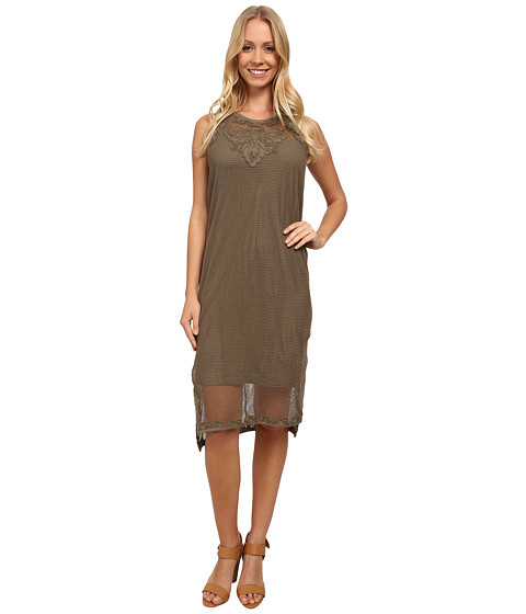 DKNY Jeans - Embroidered Mesh Dress (Light Military) Women