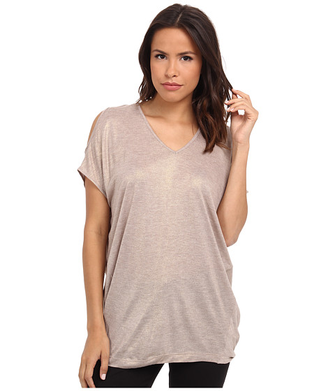 DKNY Jeans - Metallic Pieced Cold Shoulder Top (Almond Heather) Women's Short Sleeve Pullover