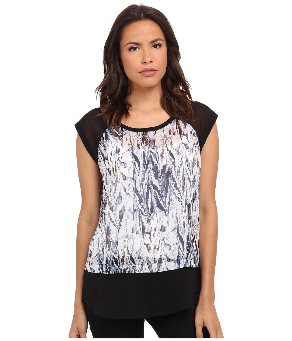 DKNY Jeans - Oil Spill Print Color Block Top (Lapis) Women's Short Sleeve Pullover