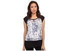 DKNY Jeans Oil Spill Print Color Block Top