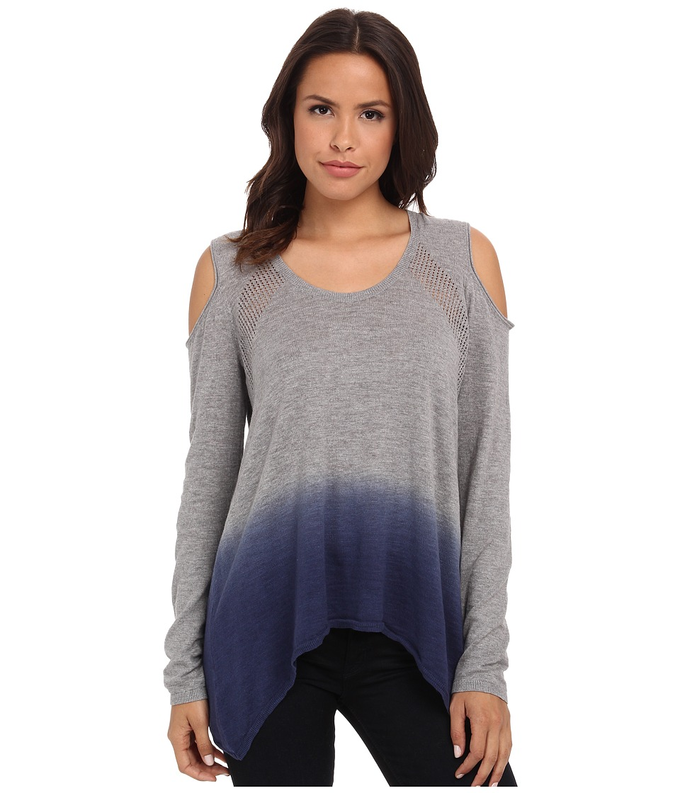 DKNY Jeans - Dip Dye Cold Shoulder Sweater (Smoke Grey Heather) Women