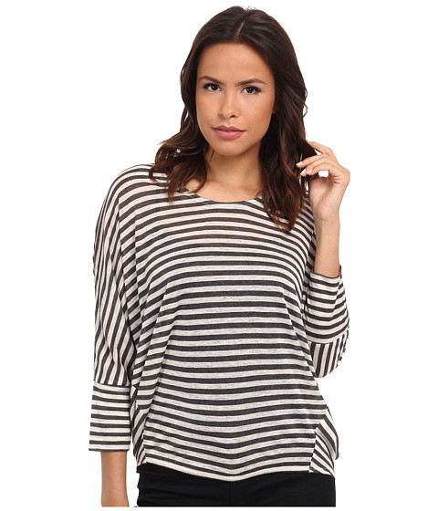 DKNY Jeans - Dolman Sleeve Stripe Top (Charcoal Heather Grey) Women's Clothing
