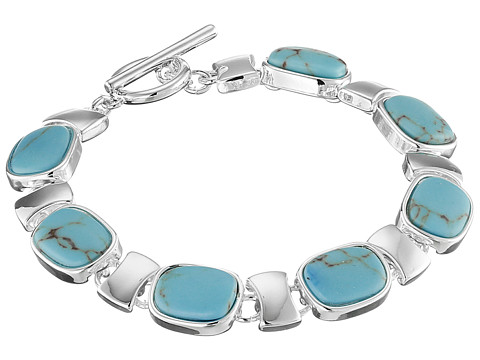 LAUREN by Ralph Lauren - Hinged Metal Cuff with Oval Turquoise Cab (Silver/Turquoise) Bracelet