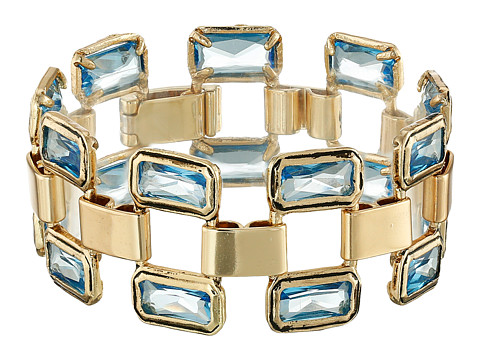 LAUREN by Ralph Lauren - Baguette Bezel Set Link with Fold-Over Closure (Gold/Blue) Bracelet
