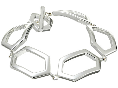 LAUREN by Ralph Lauren - 7 1/2 Openwork Geo Flex with Ring and Toggle (Silver) Bracelet