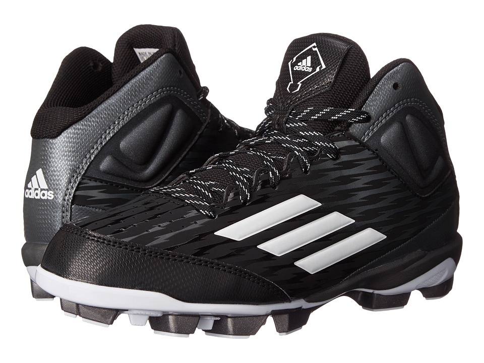 adidas Kids PowerAlley 3 TPU Mid Baseball (Little Kid/Big Kid) (Core Black/White/Tech Grey Metallic) Boys Shoes