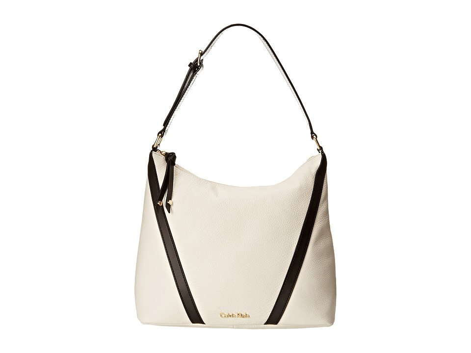 Calvin Klein - Pebble Hobo (White/Black) Hobo Handbags