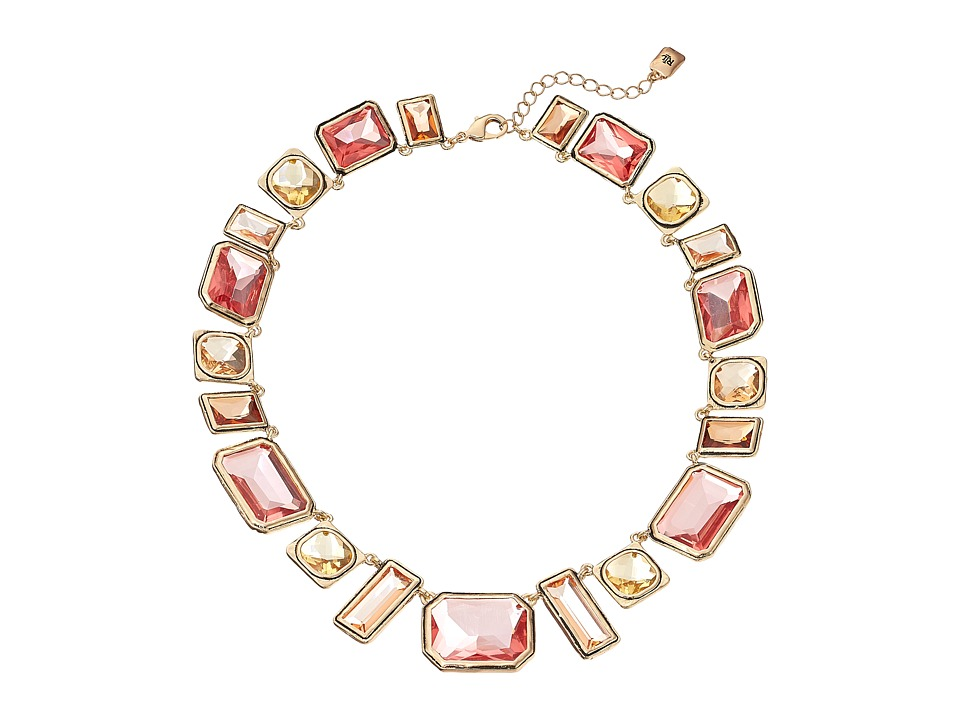 LAUREN by Ralph Lauren - 16 Large Faceted Bezel Set Stones with Lobster Closure (Gold/Pink/Orange) Necklace