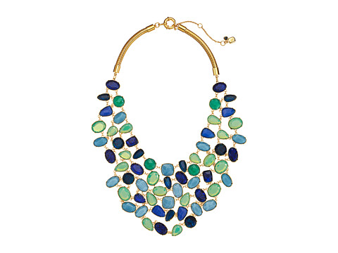 LAUREN by Ralph Lauren - 18 Chain with Stones with Crystal Bib with Spring Closure (Gold/Blue/Green) Necklace