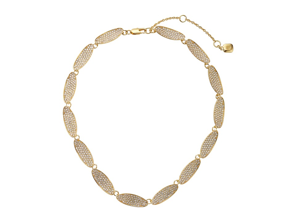 LAUREN by Ralph Lauren - 16 Oval Crystal Set Stones Collar with Lobster Closure (Gold/Crystal) Necklace