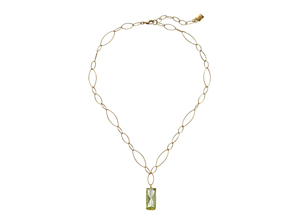 LAUREN by Ralph Lauren - 18 Oval Link Chain with Pendant (Gold/Green) Necklace