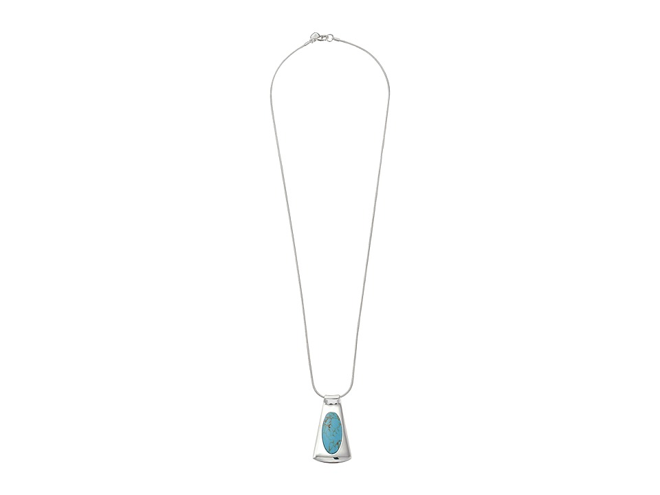 LAUREN by Ralph Lauren - 32 Snake Chain with Organic Metal and Turquoise Reversible Pendant with Lobster Closure (Silver/Turquoise) Necklace