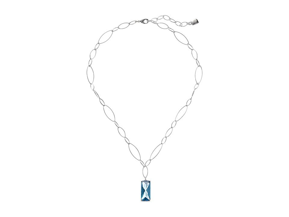 LAUREN by Ralph Lauren - 18 Oval Link Chain with Pendant (Silver/Blue) Necklace