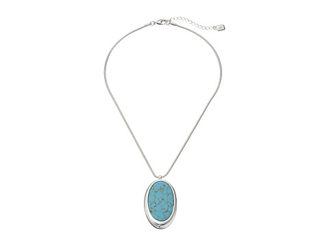 LAUREN by Ralph Lauren - 18 Snake Chain with Oval Turquoise Pendant (Silver/Turquoise) Necklace