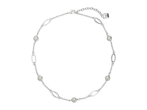 LAUREN by Ralph Lauren - 16 Oval Link and Pearl with Lobster Closure (Silver/White Pearl) Necklace