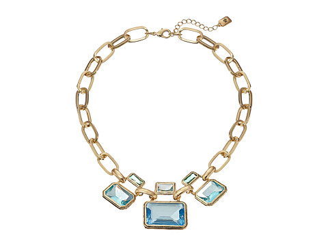 LAUREN by Ralph Lauren - 16 Large Faceted Bezel Set Stones with Chain Frontal with Fold-Over Closure (Gold/Blue/Green) Necklace