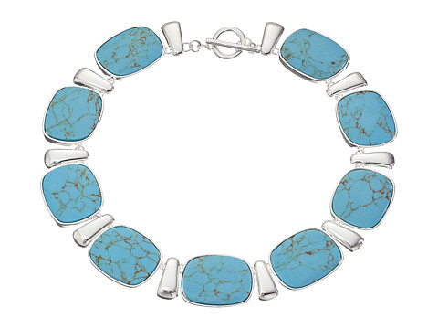 LAUREN by Ralph Lauren - 18 Rectangular Cushion Turquoise Collar with Ring and Toggle (Silver/Turquoise) Necklace