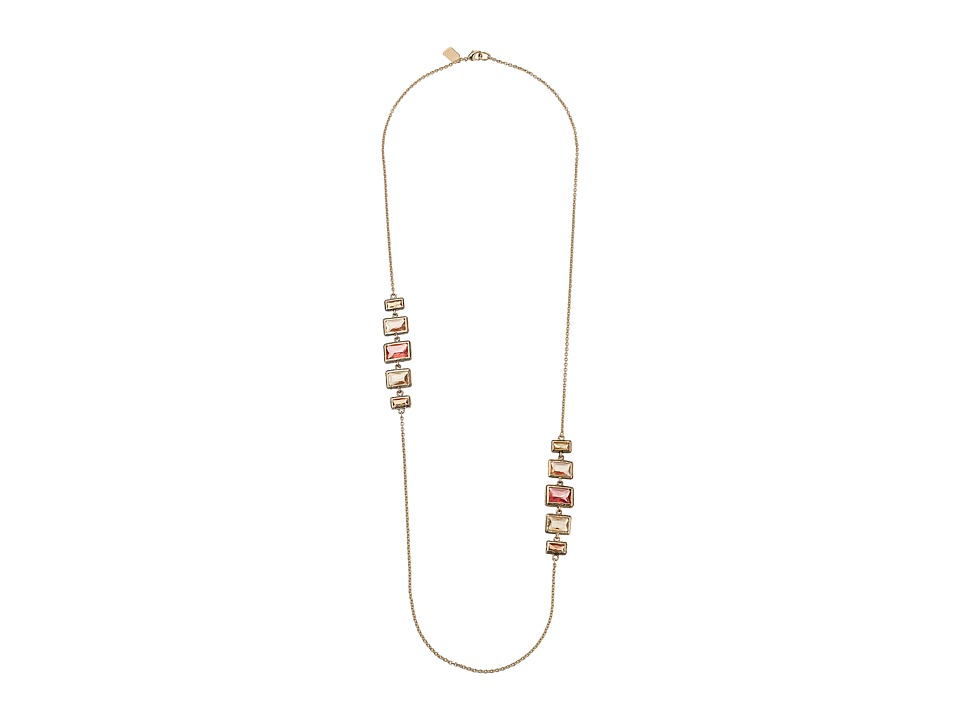 LAUREN by Ralph Lauren - 34 Chain with Bezel Set Stone Stations with Lobster Closure (Gold/Pink/Orange) Necklace