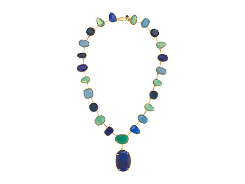 LAUREN by Ralph Lauren - 20 Stones Pendant with Lobster Closure (Gold/Blue/Green) Necklace