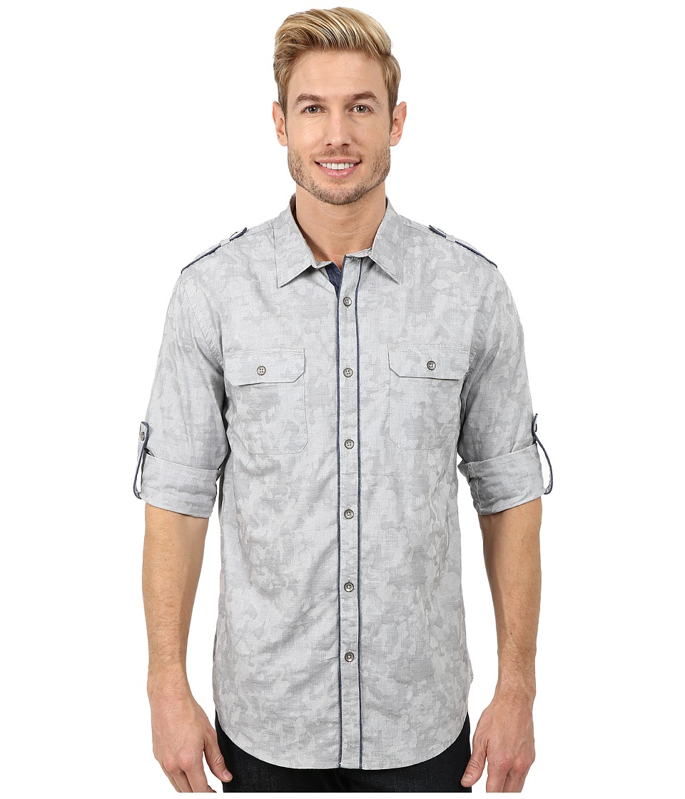 DKNY Jeans - Long Sleeve Roll Tab Jacquard Camo Shirt Casual Wash (Grey) Men's Long Sleeve Button Up