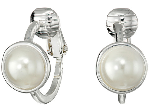 LAUREN by Ralph Lauren - Small Hoop with Pearl Cabachon (Silver/White Pearl) Earring