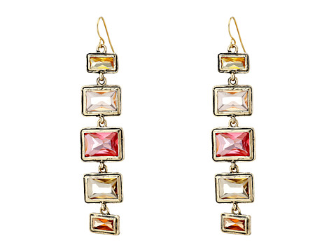 LAUREN by Ralph Lauren - Baguette Bezel Set Linear (Gold/Pink/Orange) Earring