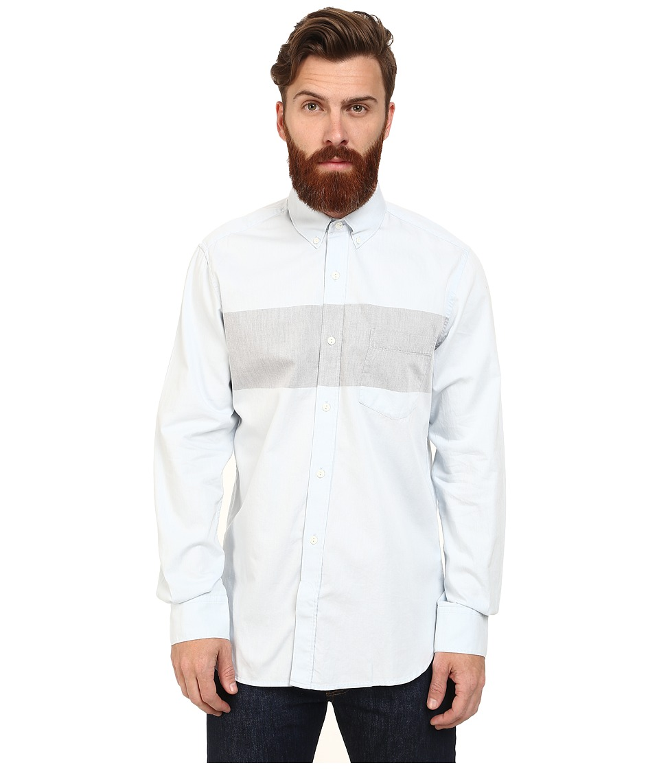 French Connection - Enginered Chambray Woven (Cashmere Blue/Marine Blue) Men's Long Sleeve Button Up