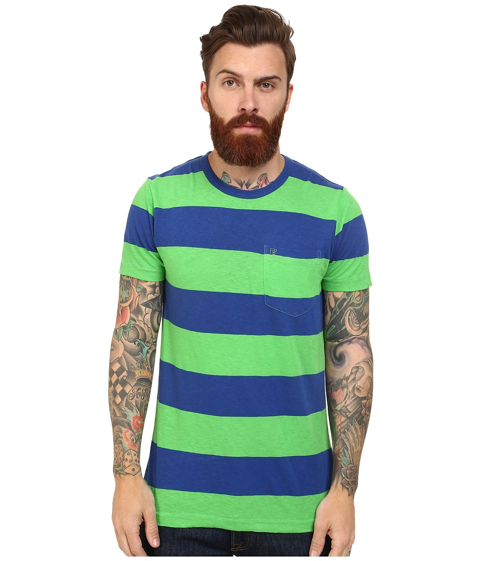 French Connection - Colorful Block Slub Tee (Techno Green/Mazarine Blue) Men