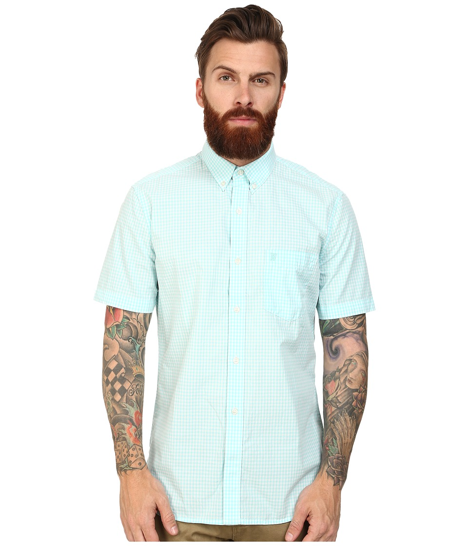 French Connection - Candy Soft Silicon Peach Woven (Simple Gingham) Men's Short Sleeve Button Up