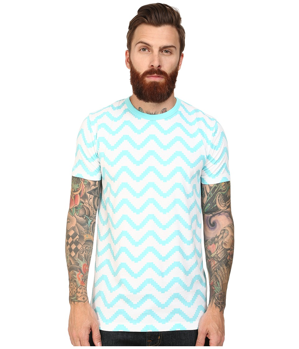 French Connection - Geo Herringbone Tee (Aqua Sky) Men