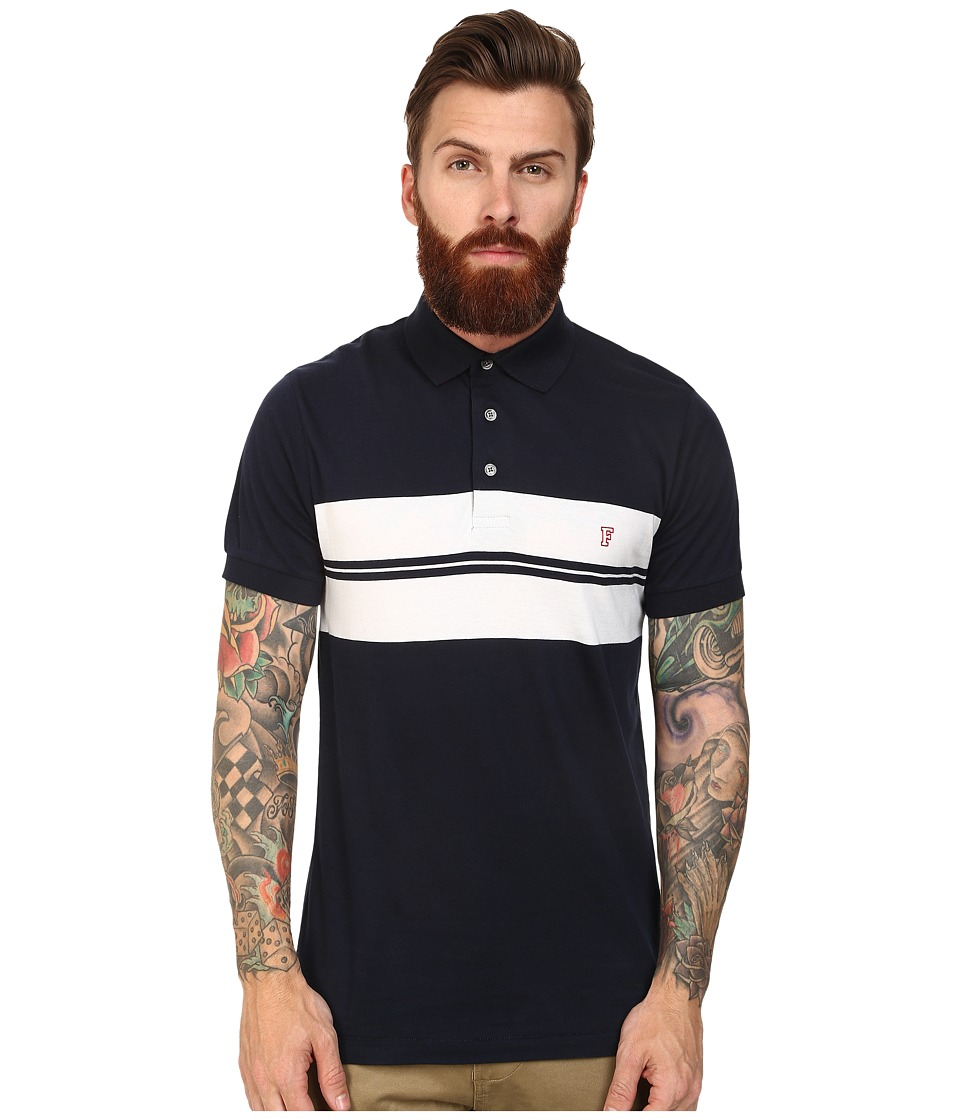 French Connection - Black Two Sided Stripe Knit (Marine Blue/White/Post) Men's Short Sleeve Knit