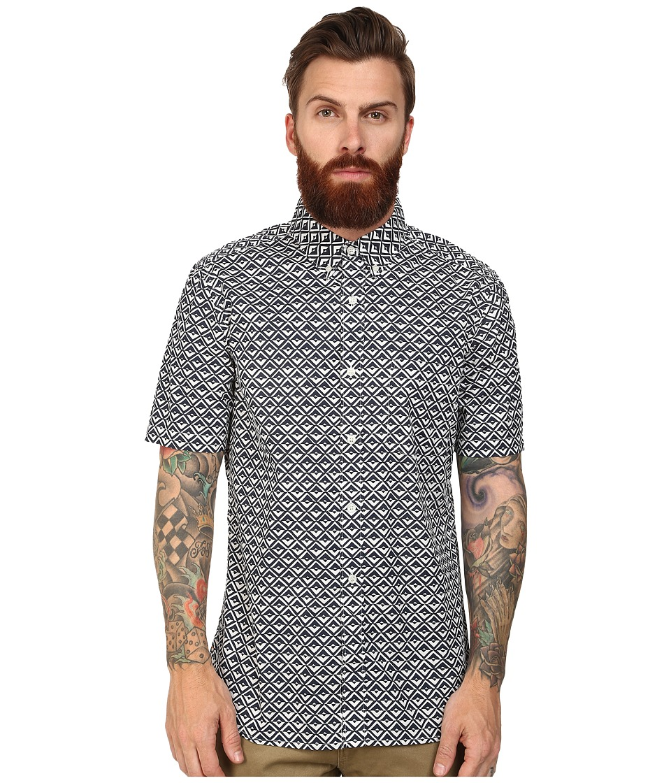 French Connection - Simple Diamond Woven (Marine Blue) Men's Short Sleeve Button Up