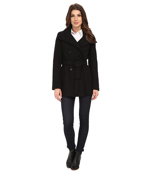 Calvin Klein - Double Breasted Stand Collar Belted Peacoat (Black Basket) Women's Coat