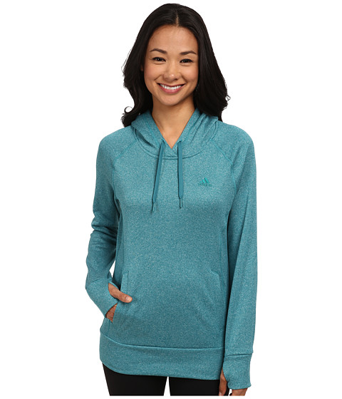 adidas - Ultimate Pullover Hoodie (Powered Teal/Colored Heather/Powered Teal) Women's Sweatshirt