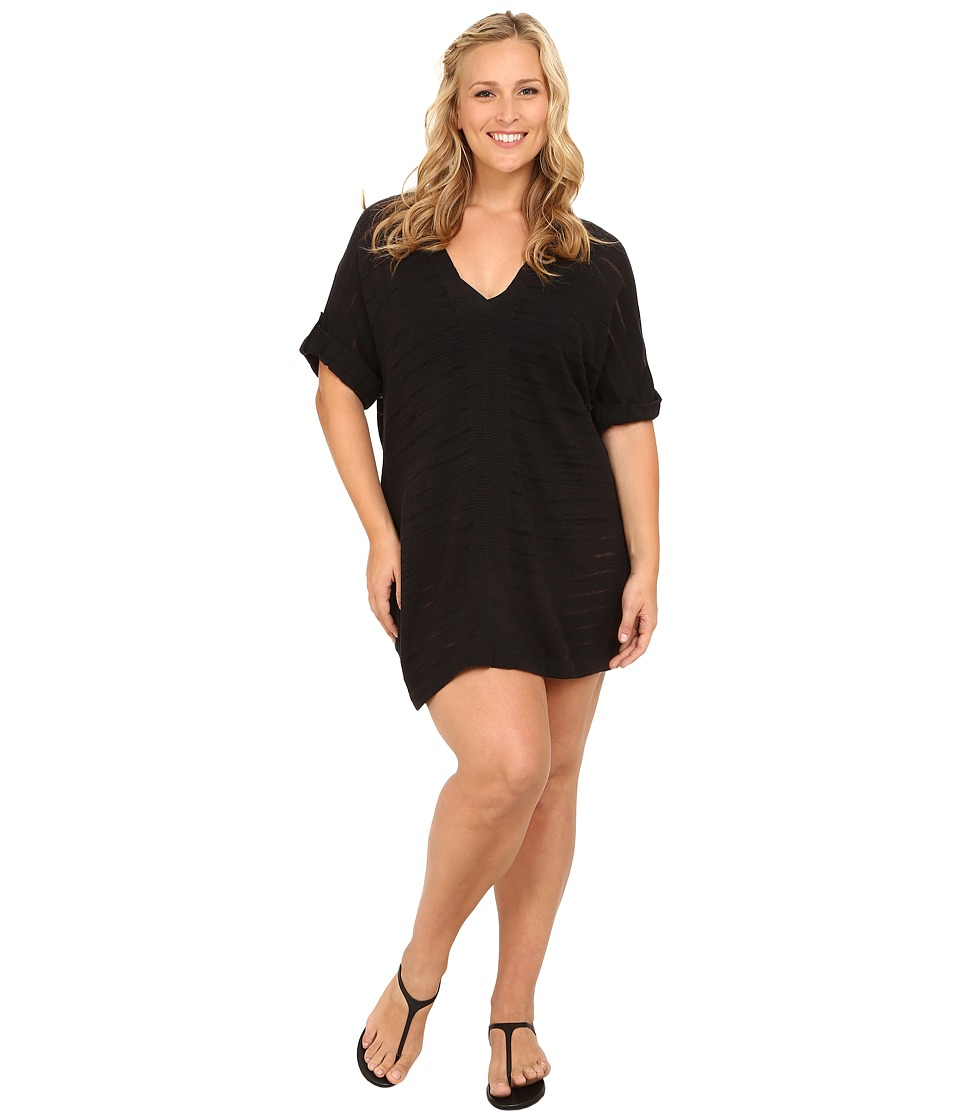 Tommy Bahama - Plus Size V-Neck Tab Sweater Cover-Up (Black) Women's Swimwear